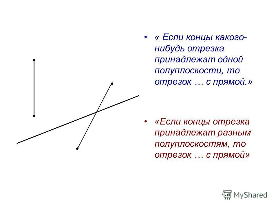 Разбиение плоскости на две полуплоскости «Прямая с разбивает плоскость на две полуплоскости.» Вопросы: 1)Какие точки лежат в разных полуплоскостях, в одной полуплоскости? 2)Какой отрезок пересекает прямую с ? 3)Какой отрезок не пересекается с прямой