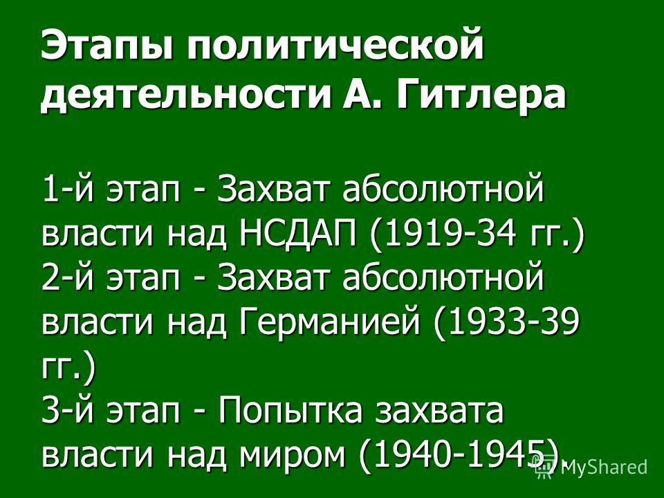 Этапы политической деятельности А. Гитлера 1-й этап - Захват абсолютной власти над НСДАП (1919-34 гг.) 2-й этап - Захват абсолютной власти над Германией (1933-39 гг.) 3-й этап - Попытка захвата власти над миром (1940-1945).