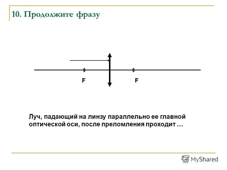 10. Продолжите фразу Луч, падающий на линзу параллельно ее главной оптической оси, после преломления проходит … FF
