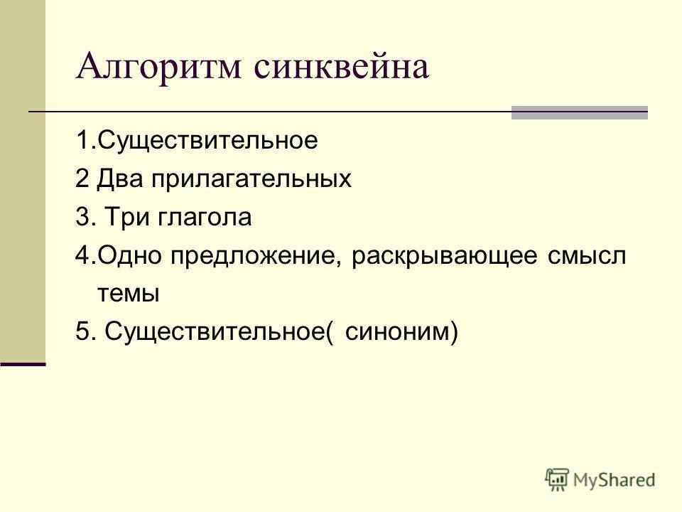 Алгоритм синквейна 1.Существительное 2 Два прилагательных 3. Три глагола 4.Одно предложение, раскрывающее смысл темы 5. Существительное( синоним)