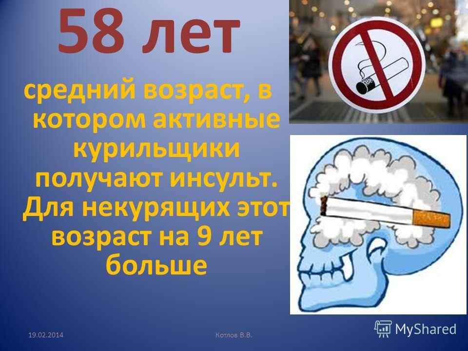 19.02.2014Котлов В.В. 58 лет средний возраст, в котором активные курильщики получают инсульт. Для некурящих этот возраст на 9 лет больше