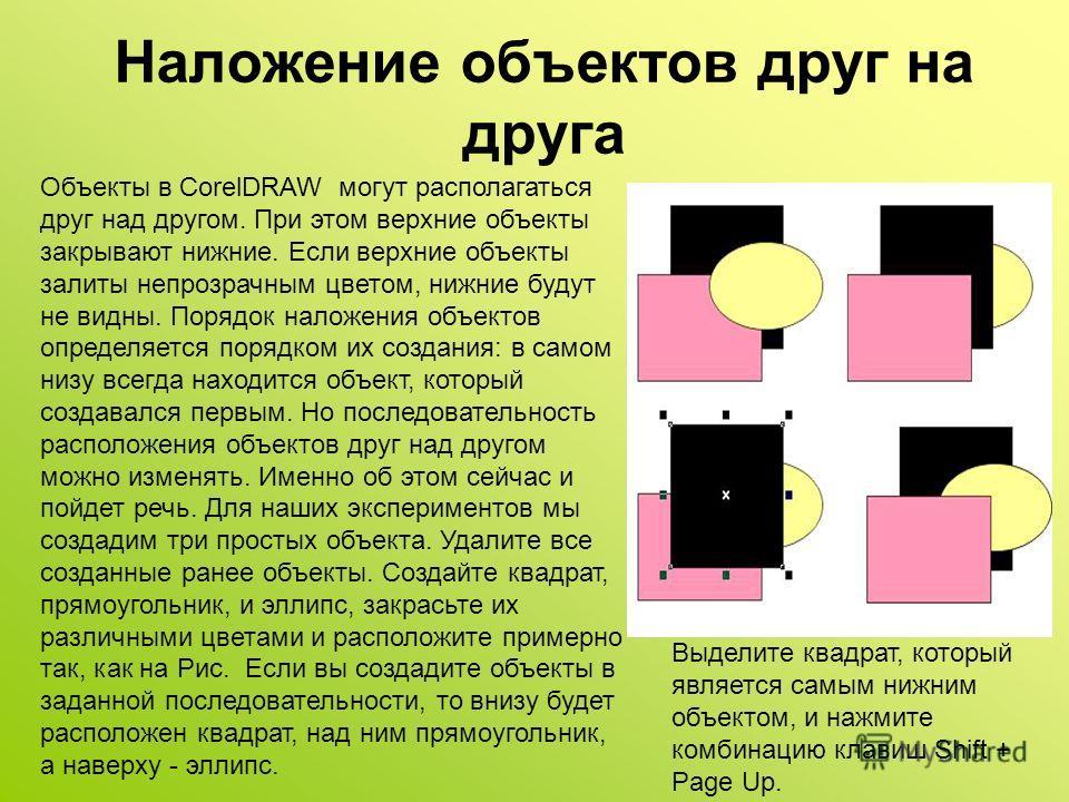 Наложение объектов друг на друга Объекты в CorelDRAW могут располагаться друг над другом. При этом верхние объекты закрывают нижние. Если верхние объекты залиты непрозрачным цветом, нижние будут не видны. Порядок наложения объектов определяется поряд
