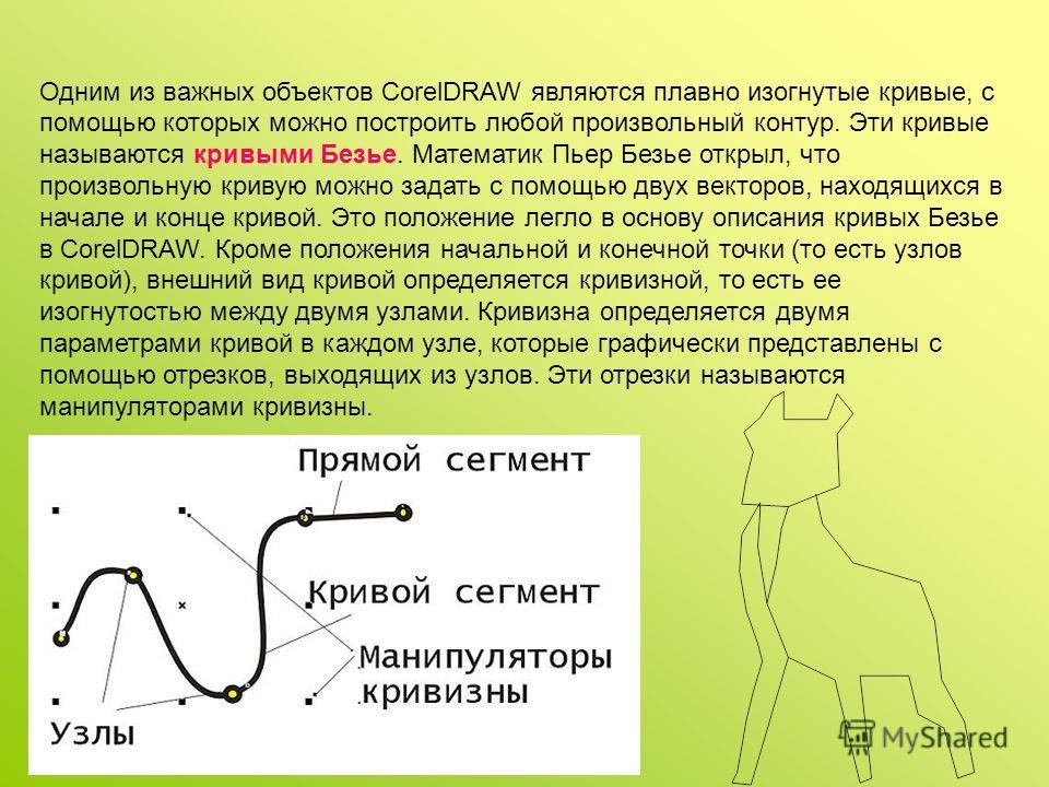 Одним из важных объектов CorelDRAW являются плавно изогнутые кривые, с помощью которых можно построить любой произвольный контур. Эти кривые называются кривыми Безье. Математик Пьер Безье открыл, что произвольную кривую можно задать с помощью двух ве
