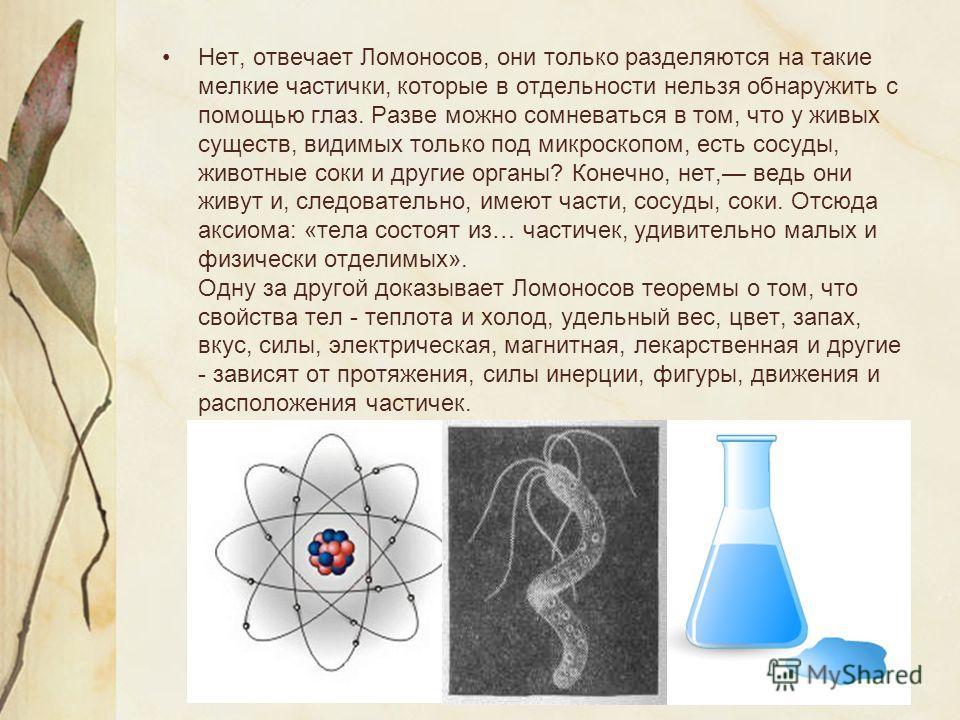Нет, отвечает Ломоносов, они только разделяются на такие мелкие частички, которые в отдельности нельзя обнаружить с помощью глаз. Разве можно сомневаться в том, что у живых существ, видимых только под микроскопом, есть сосуды, животные соки и другие