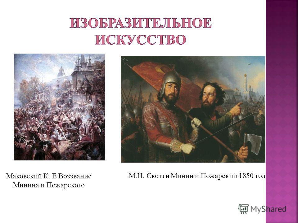 Маковский К. Е Воззвание Минина и Пожарского М.И. Скотти Минин и Пожарский 1850 год