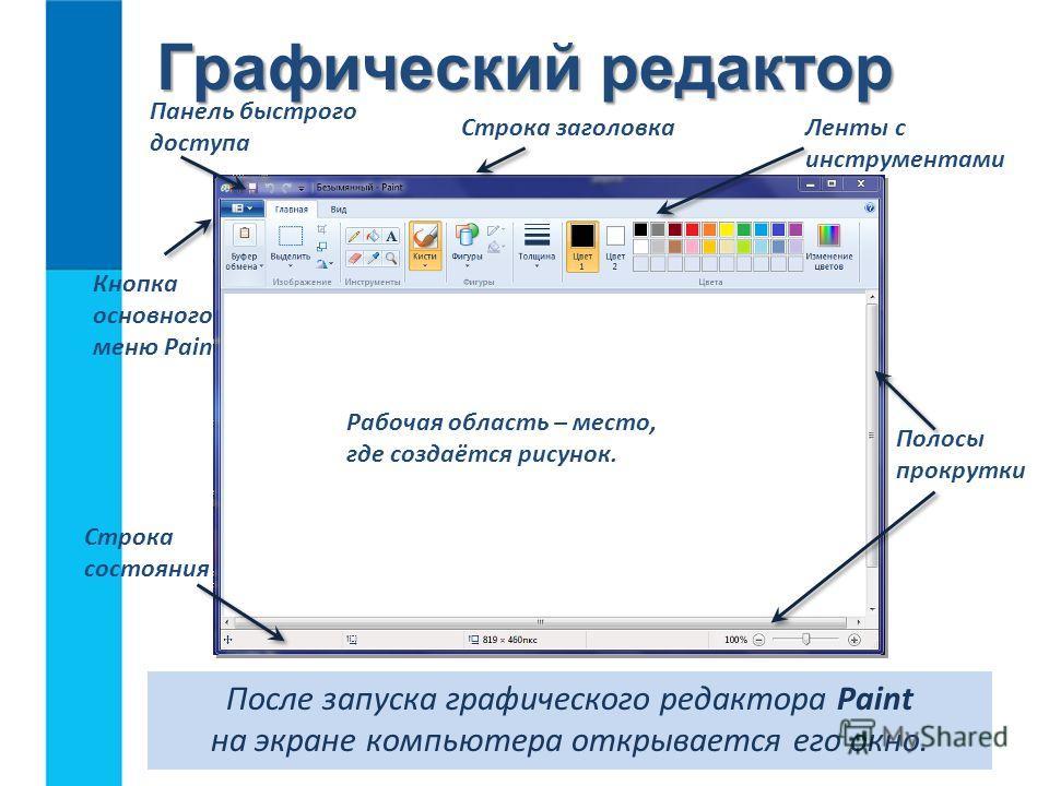 Графический редактор После запуска графического редактора Paint на экране компьютера открывается его окно. Строка заголовка Кнопка основного меню Paint Панель быстрого доступа Строка состояния Ленты с инструментами Полосы прокрутки Рабочая область –