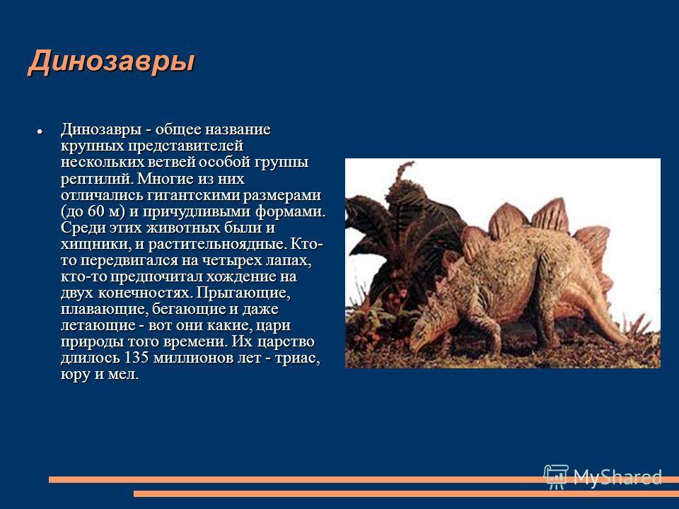 Динозавры Динозавры - общее название крупных представителей нескольких ветвей особой группы рептилий. Многие из них отличались гигантскими размерами (до 60 м) и причудливыми формами. Среди этих животных были и хищники, и растительноядные. Кто- то пер
