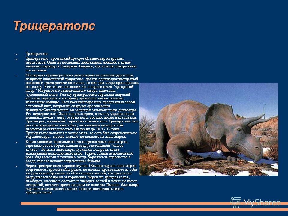 Трицератопс Трицератопс Трицератопс Трицератопс - громадный трехрогий динозавр из группы цератопсов. Один из последних динозавров, живший в конце мелового периода в Северной Америке, где и были обнаружены его останки. Трицератопс - громадный трехроги