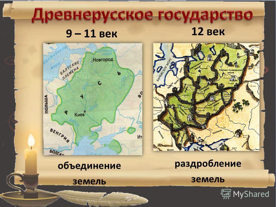 12 век 9 – 11 век объединение земель раздробление земель
