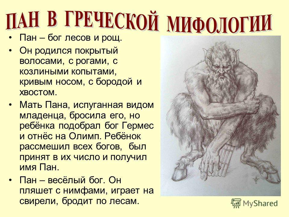 Пан – бог лесов и рощ. Он родился покрытый волосами, с рогами, с козлиными копытами, кривым носом, с бородой и хвостом. Мать Пана, испуганная видом младенца, бросила его, но ребёнка подобрал бог Гермес и отнёс на Олимп. Ребёнок рассмешил всех богов,