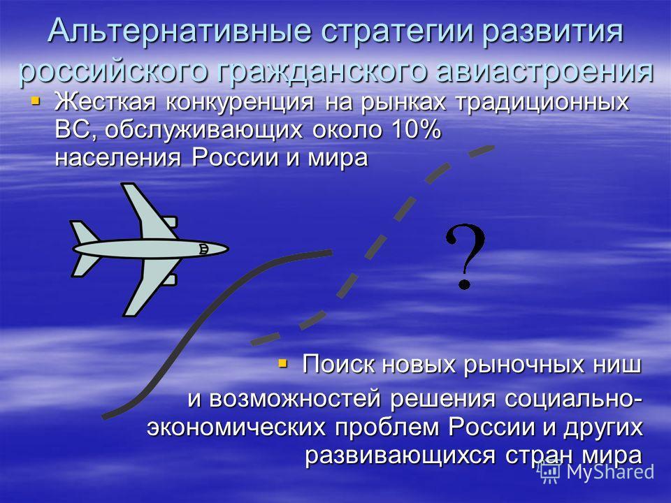 Альтернативные стратегии развития российского гражданского авиастроения Жесткая конкуренция на рынках традиционных ВС, обслуживающих около 10% населения России и мира Жесткая конкуренция на рынках традиционных ВС, обслуживающих около 10% населения Ро