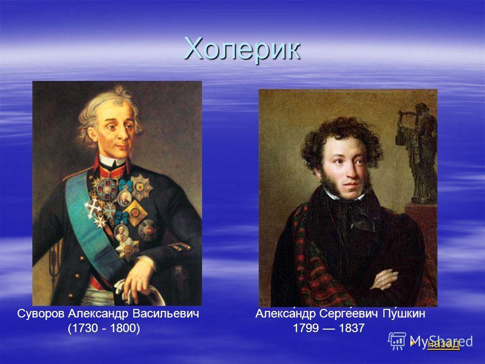 Холерик назад назад назад Суворов Александр Васильевич (1730 - 1800) Алекса́ндр Серге́евич Пу́шкин 1799 1837