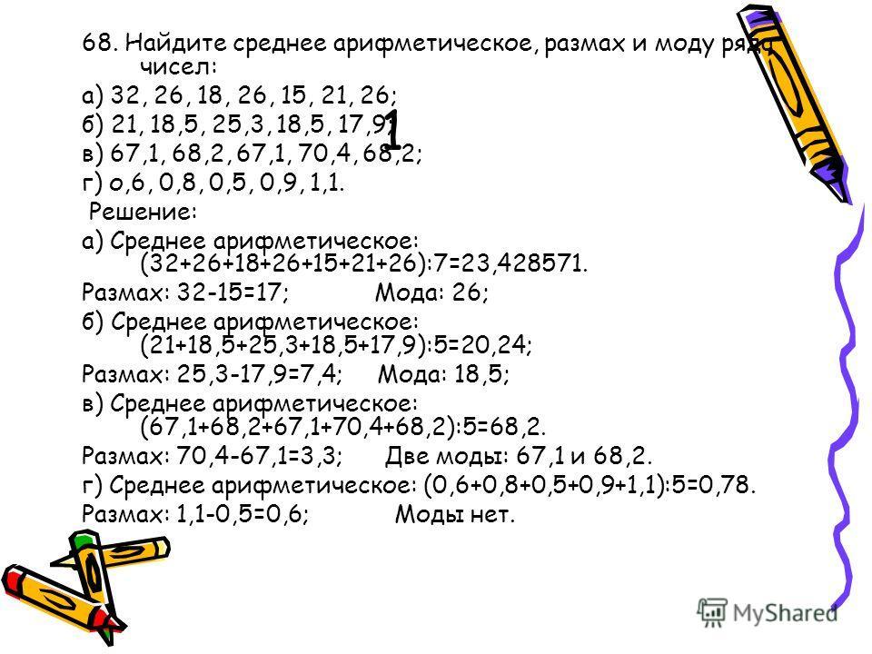 1 68. Найдите среднее арифметическое, размах и моду ряда чисел: а) 32, 26, 18, 26, 15, 21, 26; б) 21, 18,5, 25,3, 18,5, 17,9; в) 67,1, 68,2, 67,1, 70,4, 68,2; г) о,6, 0,8, 0,5, 0,9, 1,1. Решение: а) Среднее арифметическое: (32+26+18+26+15+21+26):7=23