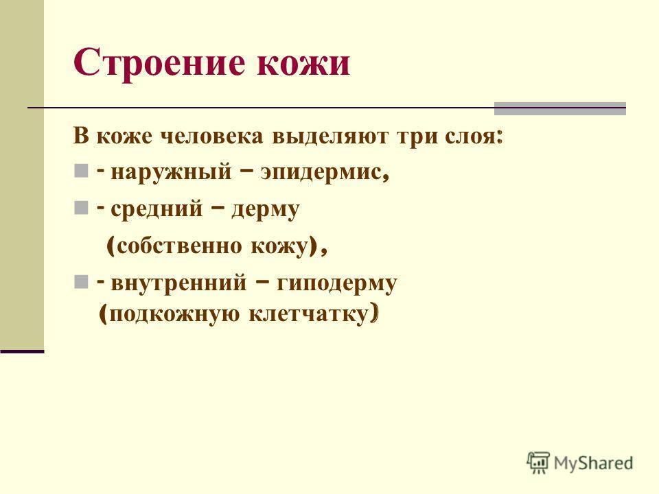 Строение кожи В коже человека выделяют три слоя : - наружный – эпидермис, - средний – дерму ( собственно кожу ), - внутренний – гиподерму ( подкожную клетчатку )