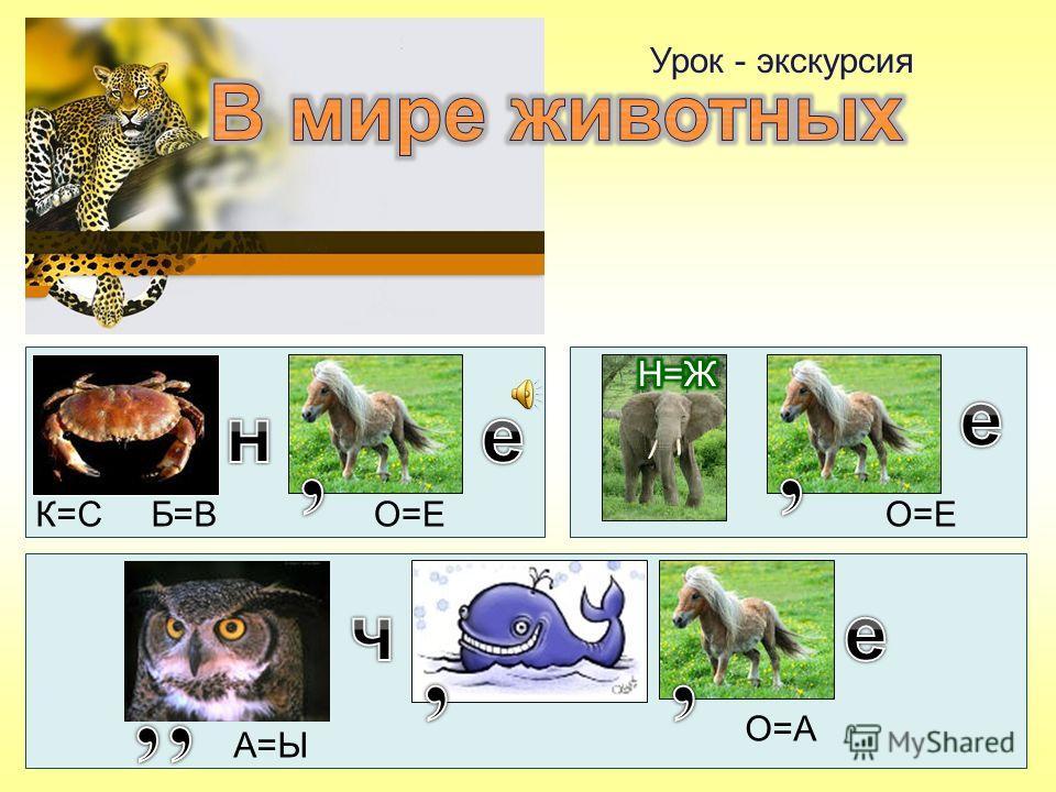 Урок - экскурсия К=С Б=ВО=Е А=Ы О=А