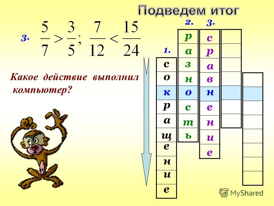 1. с е щ а и о н р е к 3. Какое действие выполнил компьютер? 2. о р а з н т с ь 3. е р с н и в а е н
