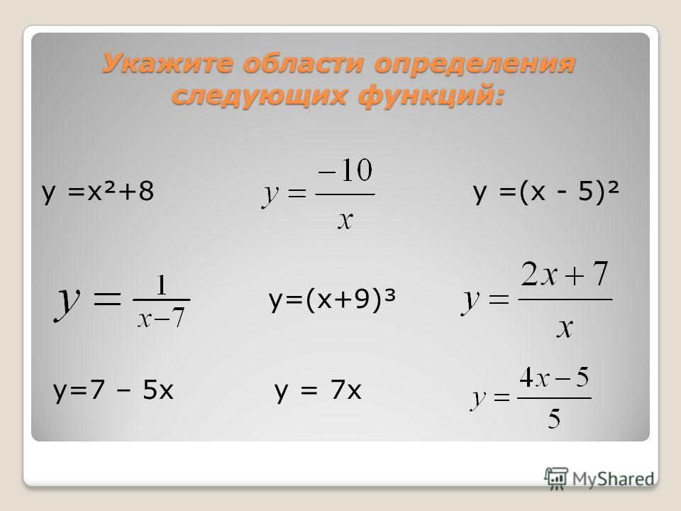 Укажите области определения следующих функций: y =x²+8 y=7 – 5x y =(x - 5)² y = 7x y=(x+9)³