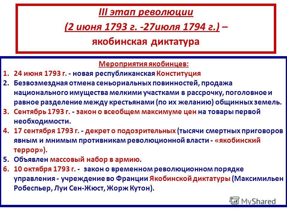 III этап революции (2 июня 1793 г. -27июля 1794 г.) – якобинская диктатура Мероприятия якобинцев: 1.24 июня 1793 г. - новая республиканская Конституция 2.Безвозмездная отмена сеньориальных повинностей, продажа национального имущества мелкими участкам