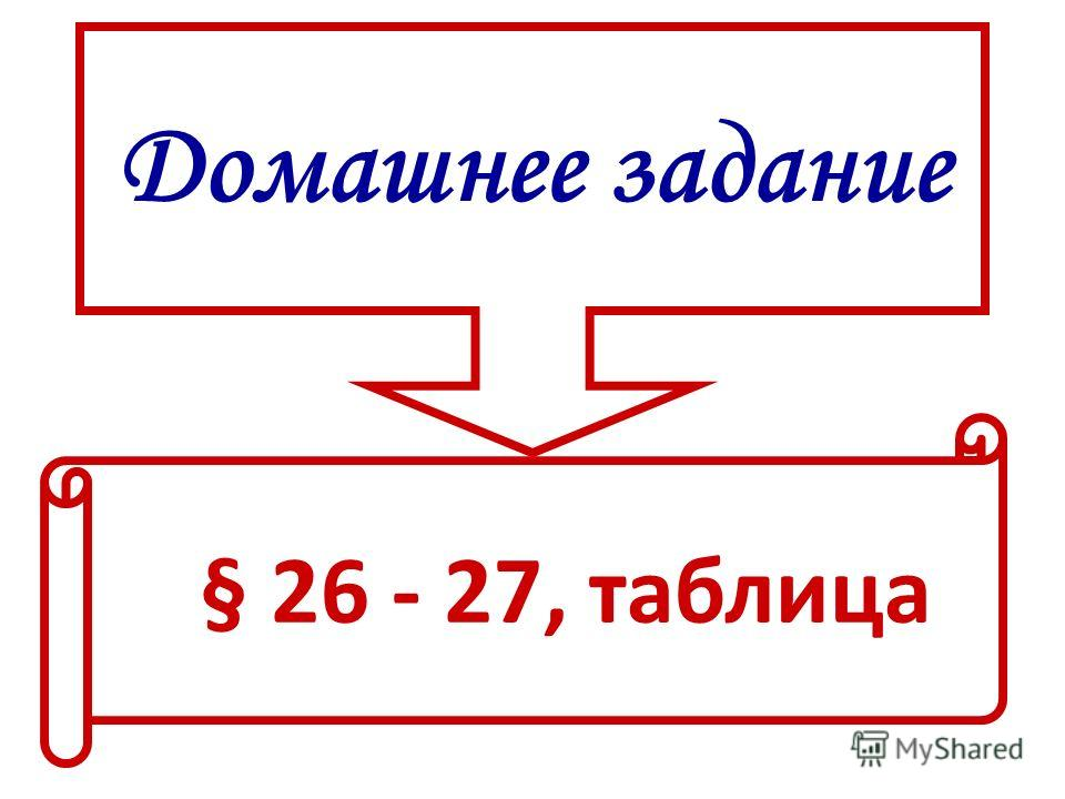 Домашнее задание § 26 - 27, таблица