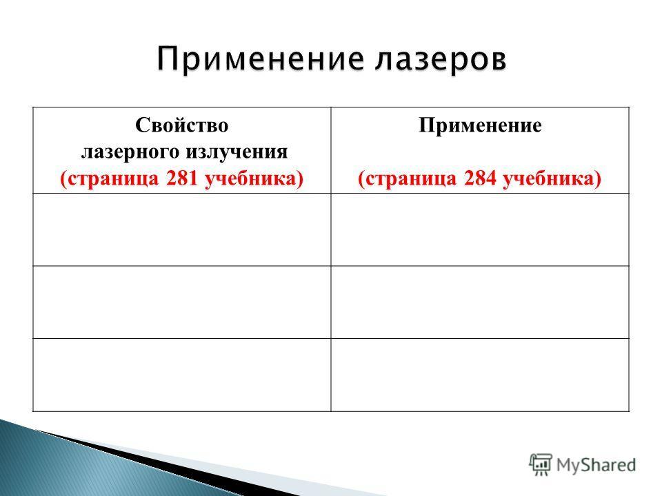 Свойство лазерного излучения (страница 281 учебника) Применение (страница 284 учебника)