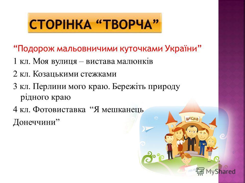 Подорож мальовничими куточками України 1 кл. Моя вулиця – вистава малюнків 2 кл. Козацькими стежками 3 кл. Перлини мого краю. Бережіть природу рідного краю 4 кл. Фотовиставка Я мешканець Донеччини