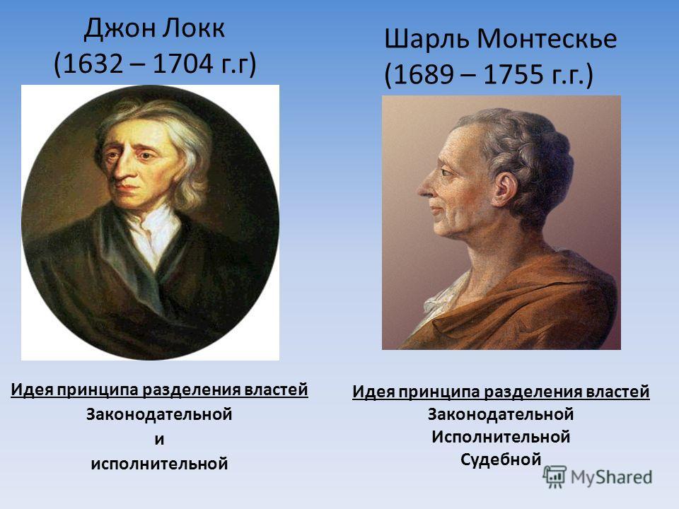 Джон Локк (1632 – 1704 г.г) Идея принципа разделения властей Законодательной и исполнительной Шарль Монтескье (1689 – 1755 г.г.) Идея принципа разделения властей Законодательной Исполнительной Судебной