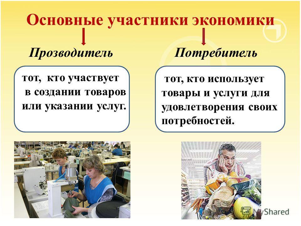 Основные участники экономики Прозводитель одитель – тот, кто участвует в создании товаров или указании услуг. тот, кто участвует в создании товаров или указании услуг. тот, кто использует товары и услуги для удовлетворения своих потребностей. Потреби