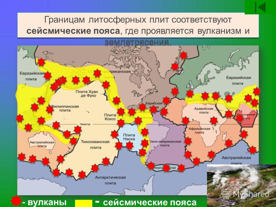 Границам литосферных плит соответствуют сейсмические пояса, где проявляется вулканизм и землетрясения. - вулканы - сейсмические пояса