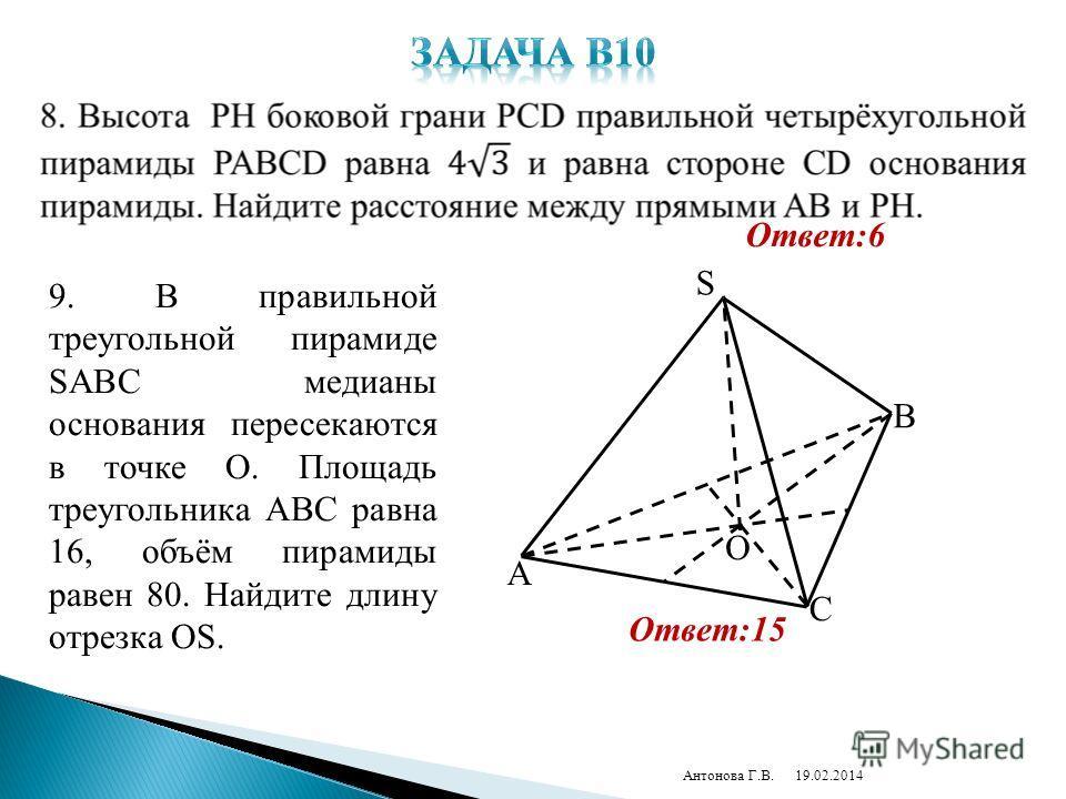 19.02.2014Антонова Г.В. Ответ:6 9. В правильной треугольной пирамиде SABC медианы основания пересекаются в точке O. Площадь треугольника ABC равна 16, объём пирамиды равен 80. Найдите длину отрезка OS. S O A C B Ответ:15