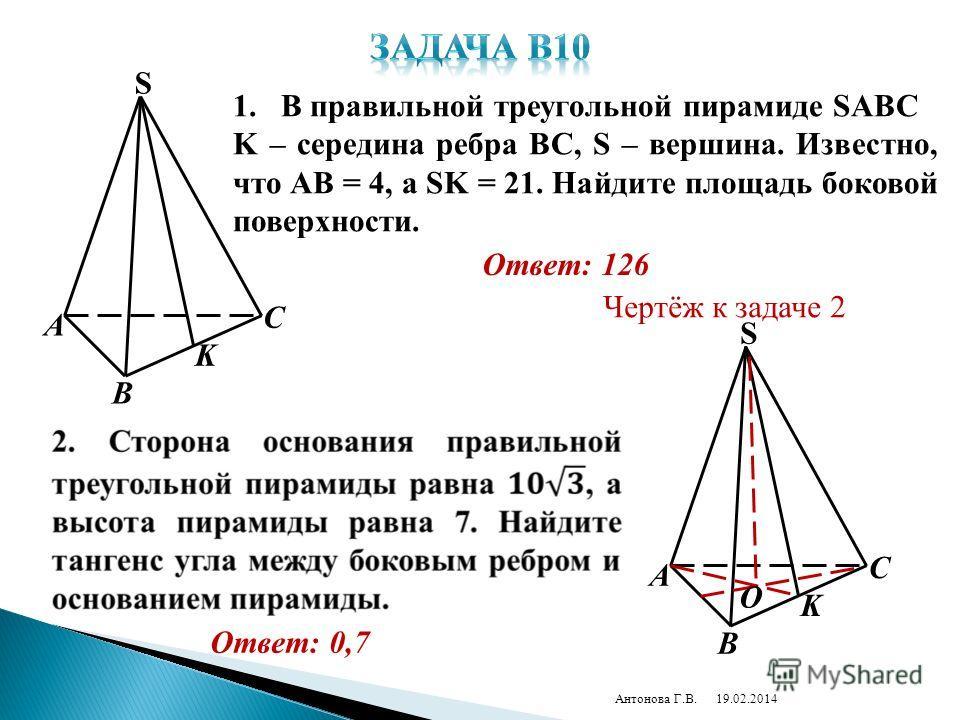 19.02.2014Антонова Г.В. A C S K B 1.В правильной треугольной пирамиде SABC K – середина ребра BC, S – вершина. Известно, что AB = 4, a SK = 21. Найдите площадь боковой поверхности. Ответ: 126 Ответ: 0,7 A C S K B О Чертёж к задаче 2