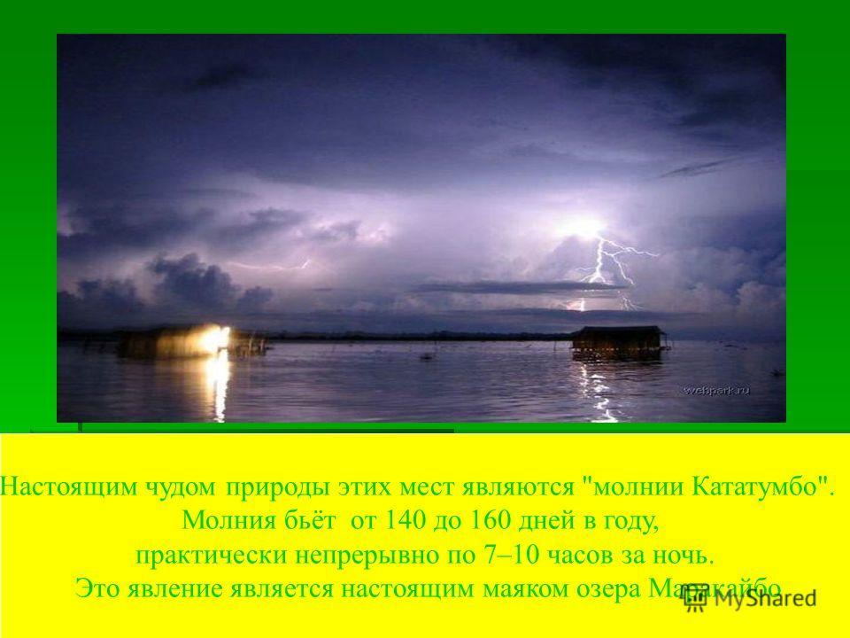 Настоящим чудом природы этих мест являются молнии Кататумбо. Молния бьёт от 140 до 160 дней в году, практически непрерывно по 7–10 часов за ночь. Это явление является настоящим маяком озера Маракайбо