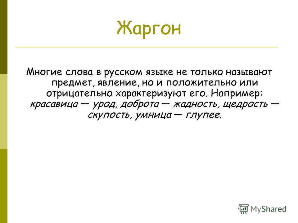 Жаргон Многие слова в русском языке не только называют предмет, явление, но и положительно или отрицательно характеризуют его. Например: красавица урод, доброта жадность, щедрость скупость, умница глупее.