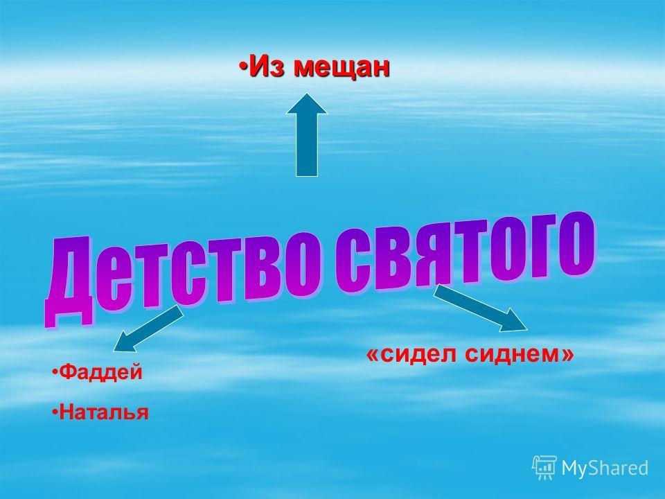 Из мещанИз мещан Фаддей Наталья «сидел сиднем»
