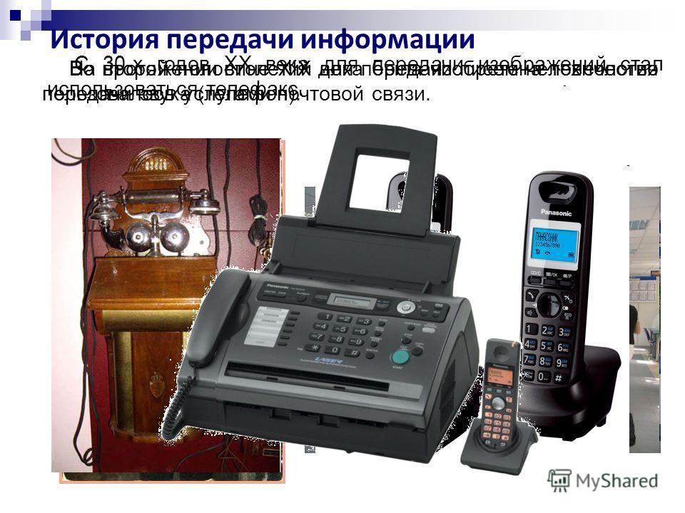История передачи информации На протяжении столетий для передачи писем человечество пользовалось услугами почтовой связи. Во второй половине XIX века была изобретена технология передачи звука (телефон). С 30-х годов XX века для передачи изображений ст
