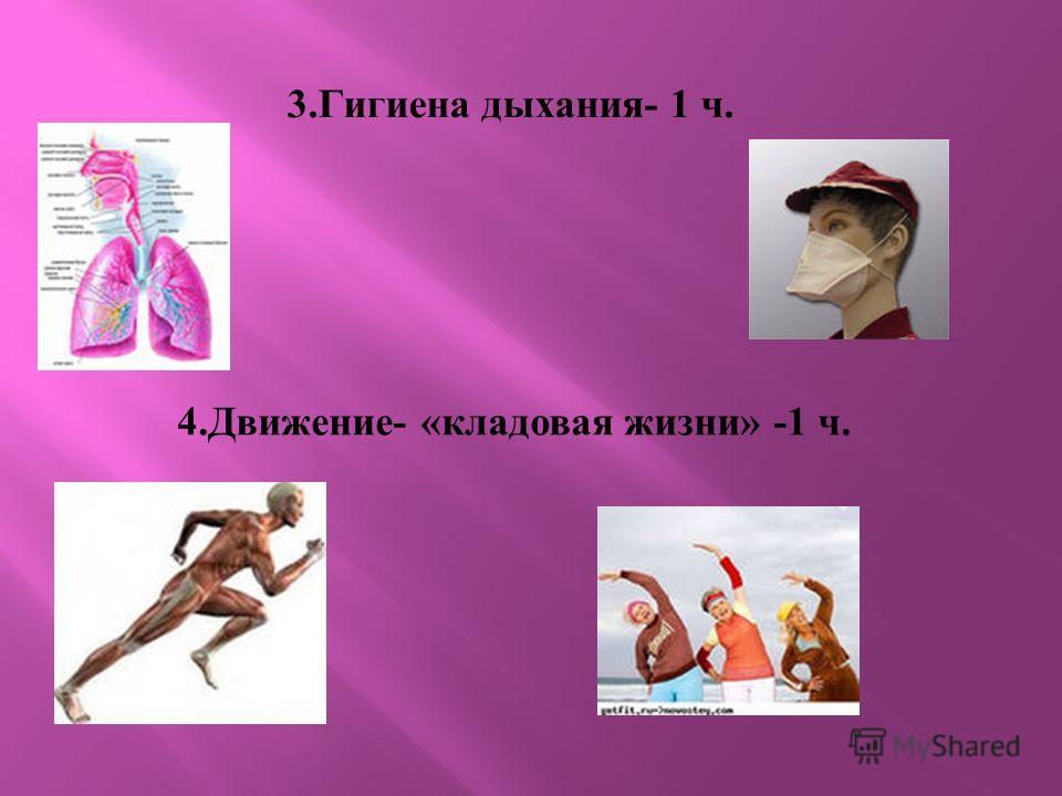 3. Гигиена дыхания - 1 ч. 4. Движение - « кладовая жизни » -1 ч.