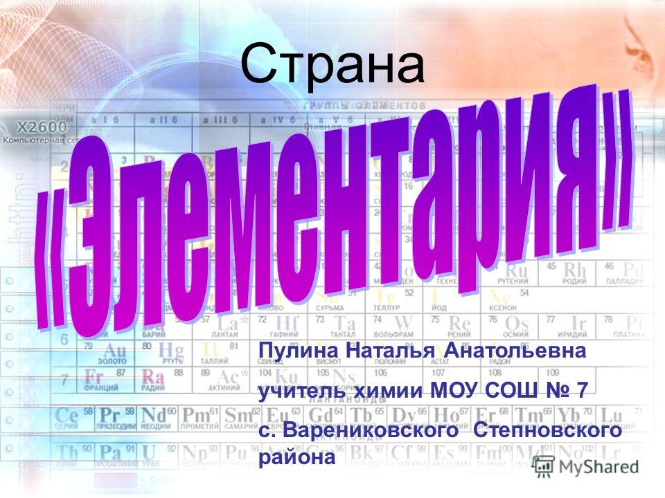 Страна Пулина Наталья Анатольевна учитель химии МОУ СОШ 7 с. Варениковского Степновского района