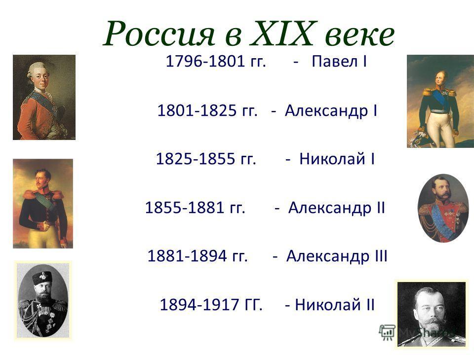 Россия в XIX веке 1796-1801 гг.- Павел I 1801-1825 гг. - Александр I 1825-1855 гг.- Николай I 1855-1881 гг.- Александр II 1881-1894 гг.- Александр III 1894-1917 ГГ.- Николай II