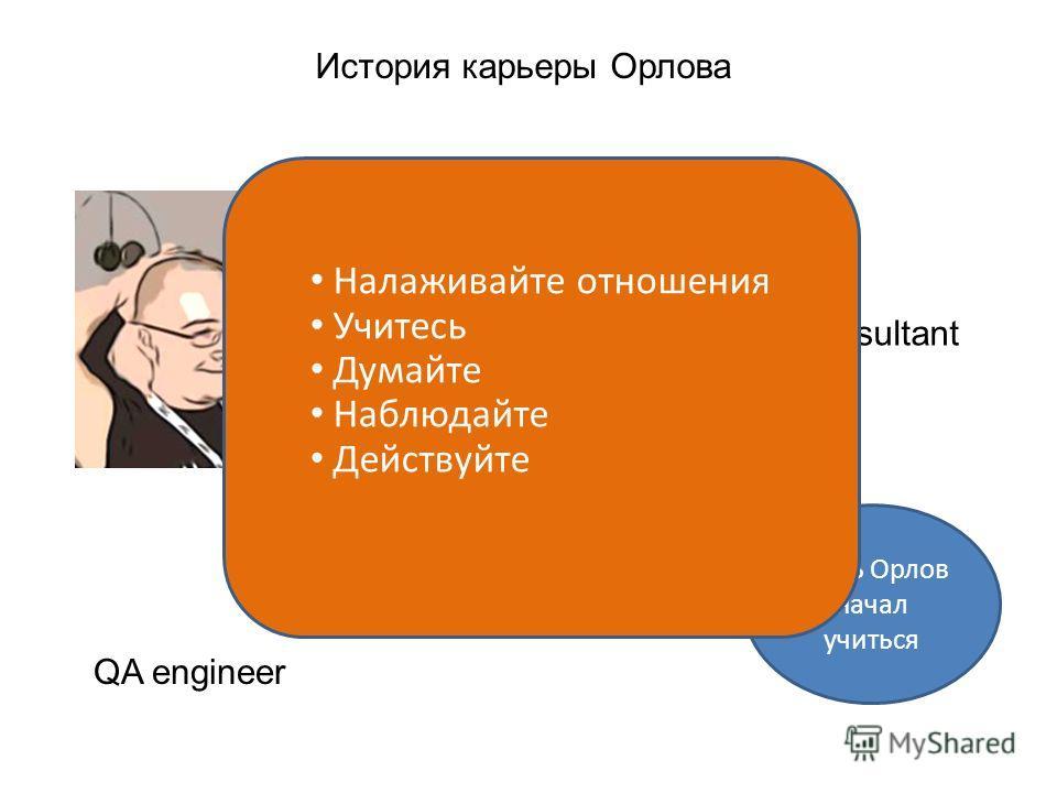 История карьеры Орлова QA engineer Team lead Large team lead Manager, Intel Consultant Здесь Орлов начал учиться Здесь Орлов начал думать Налаживайте отношения Учитесь Думайте Наблюдайте Действуйте
