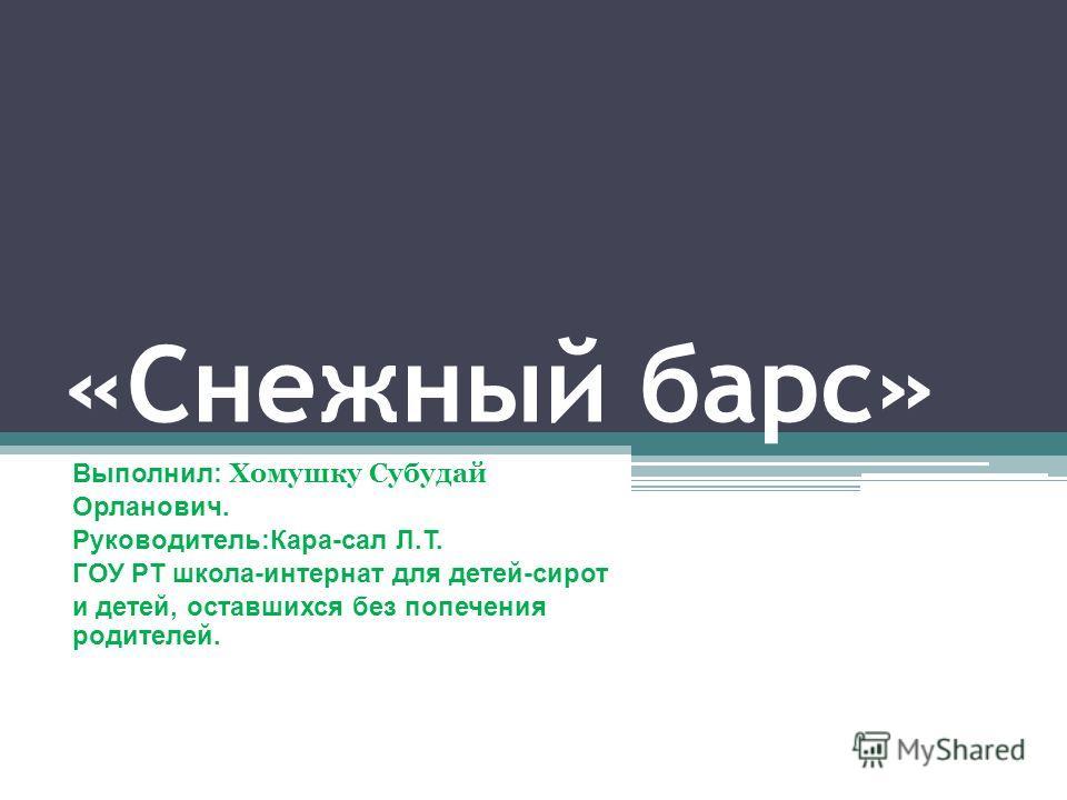 «Снежный барс» Выполнил: Хомушку Субудай Орланович. Руководитель:Кара-сал Л.Т. ГОУ РТ школа-интернат для детей-сирот и детей, оставшихся без попечения родителей.