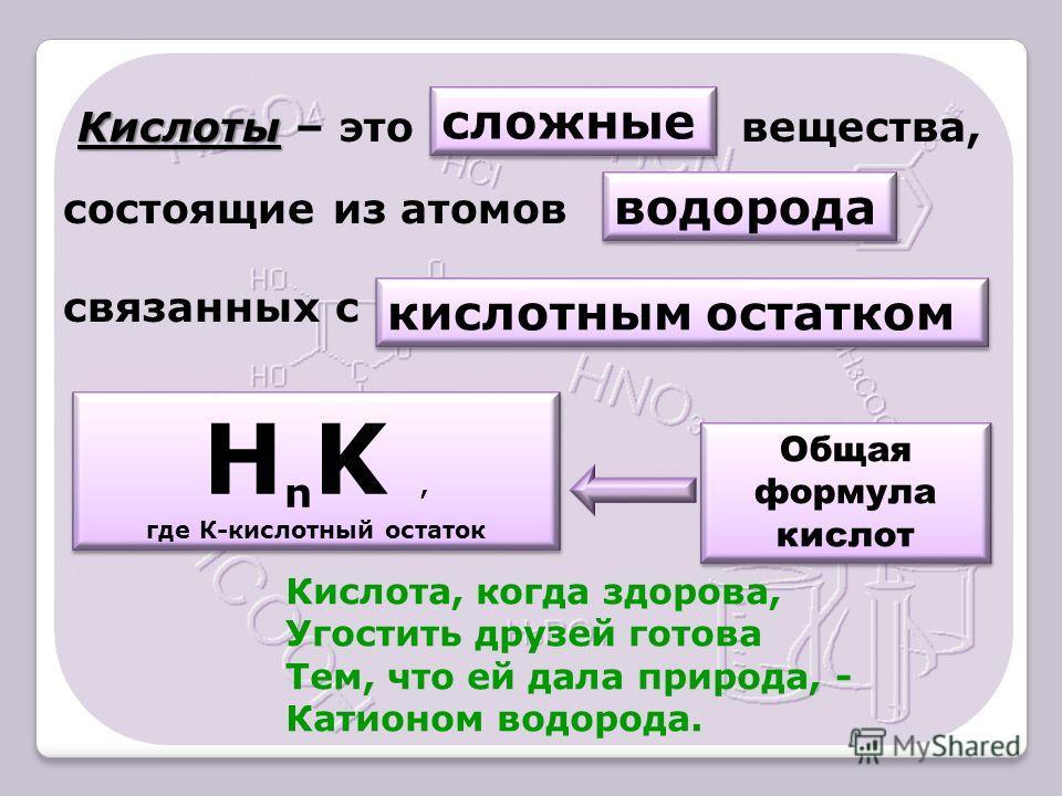 Кислоты Кислоты – это вещества, состоящие из атомов связанных с сложные водорода кислотным остатком Общая формула кислот Н n K, где К-кислотный остаток Н n K, где К-кислотный остаток Кислота, когда здорова, Угостить друзей готова Тем, что ей дала при