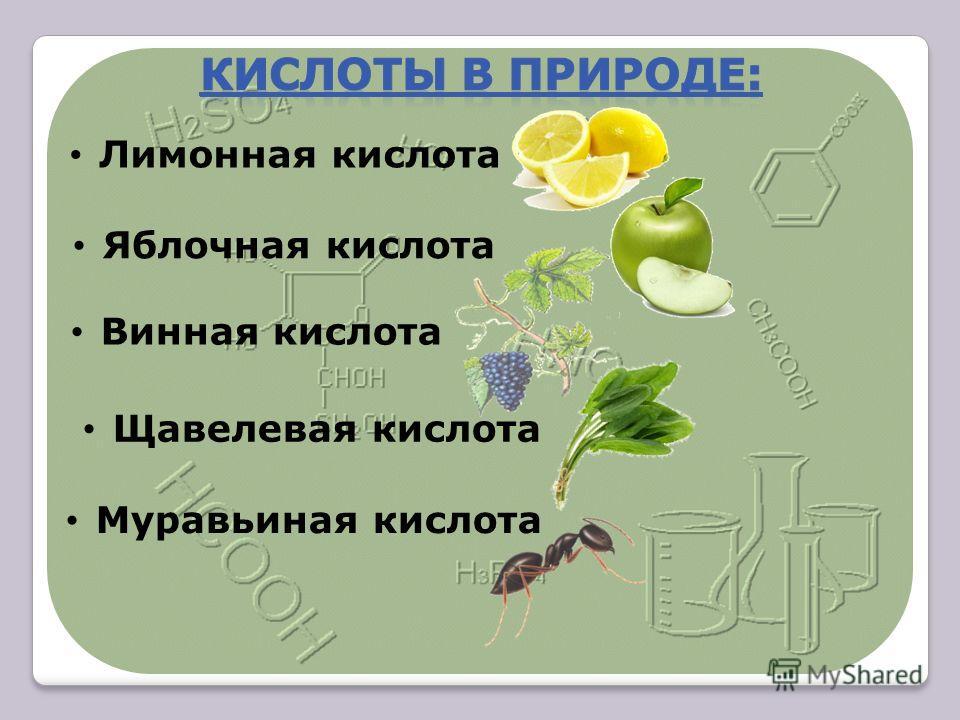 Лимонная кислота Яблочная кислота Щавелевая кислота Муравьиная кислота Винная кислота