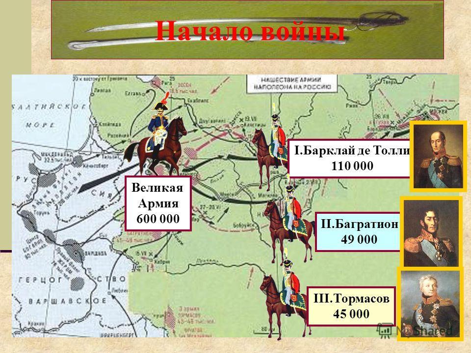 Начало войны I.Барклай де Толли 110 000 Великая Армия 600 000 II.Багратион 49 000 III.Тормасов 45 000