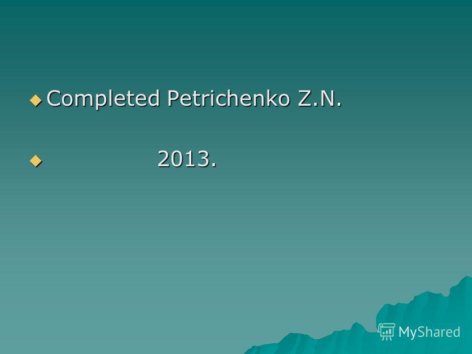 Completed Petrichenko Z.N. Completed Petrichenko Z.N. 2013. 2013.