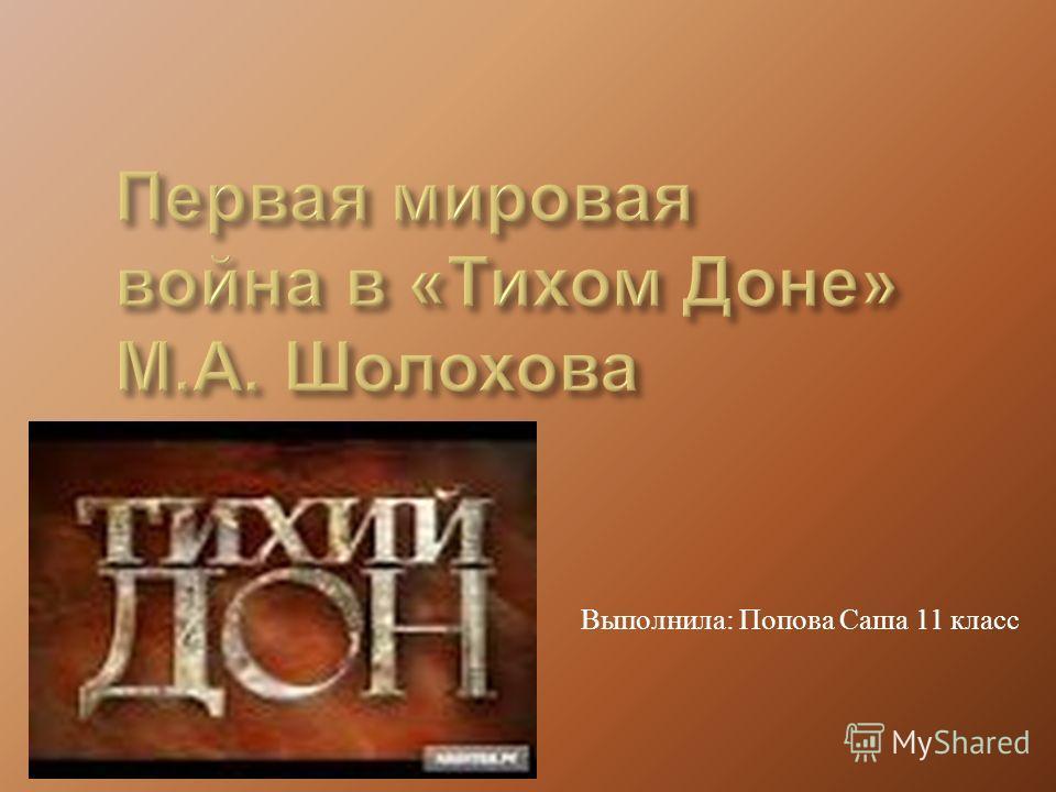 Выполнила : Попова Саша 11 класс