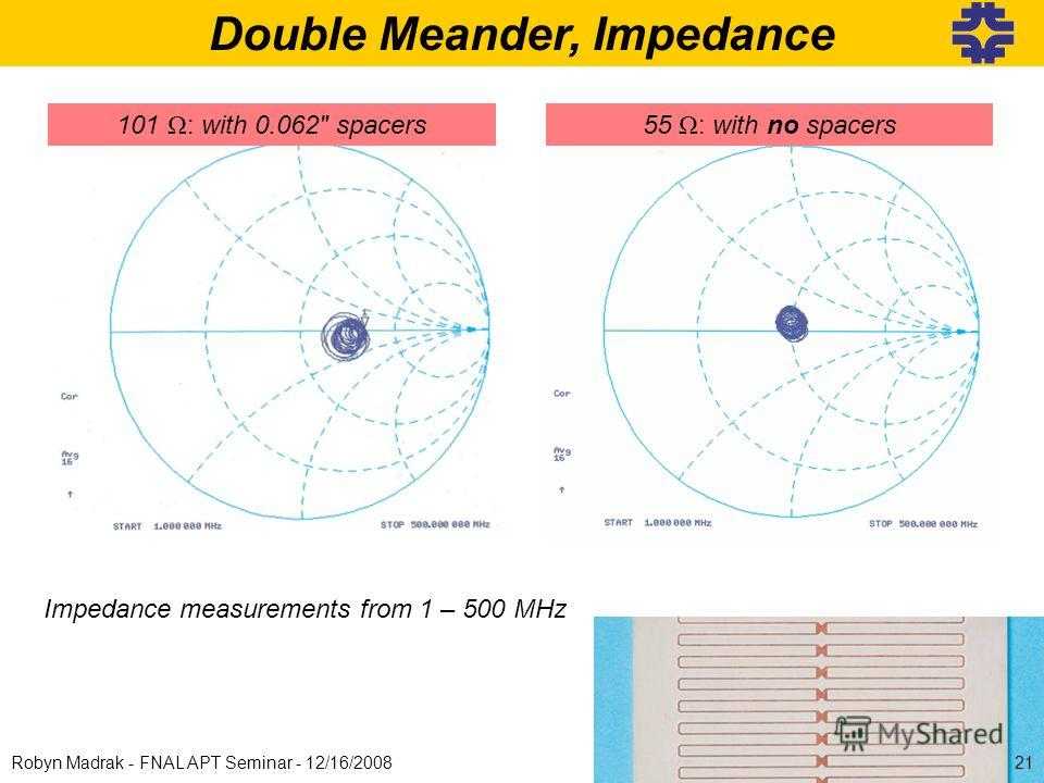Double Meander, Impedance 101 Ω : with 0.062 spacers Impedance measurements from 1 – 500 MHz 55 Ω : with no spacers 21Robyn Madrak - FNAL APT Seminar - 12/16/2008