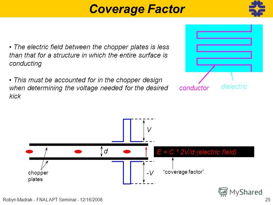 Coverage Factor V -V d chopper plates E = C * 2V/d (electric field) coverage factor The electric field between the chopper plates is less than that for a structure in which the entire surface is conducting This must be accounted for in the chopper de