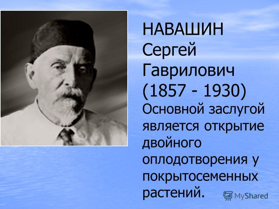 НАВАШИН Сергей Гаврилович (1857 - 1930) Основной заслугой является открытие двойного оплодотворения у покрытосеменных растений.