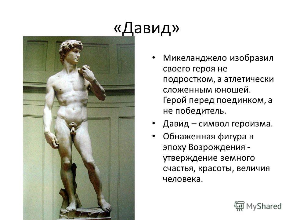 «Давид» Микеланджело изобразил своего героя не подростком, а атлетически сложенным юношей. Герой перед поединком, а не победитель. Давид – символ героизма. Обнаженная фигура в эпоху Возрождения - утверждение земного счастья, красоты, величия человека