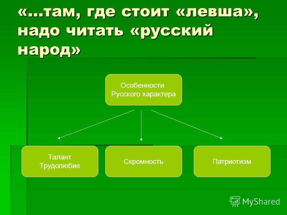 «…там, где стоит «левша», надо читать «русский народ» Особенности Русского характера ПатриотизмСкромность Талант Трудолюбие