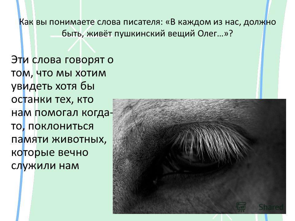 Как вы понимаете слова писателя: «В каждом из нас, должно быть, живёт пушкинский вещий Олег…»? Эти слова говорят о том, что мы хотим увидеть хотя бы останки тех, кто нам помогал когда- то, поклониться памяти животных, которые вечно служили нам